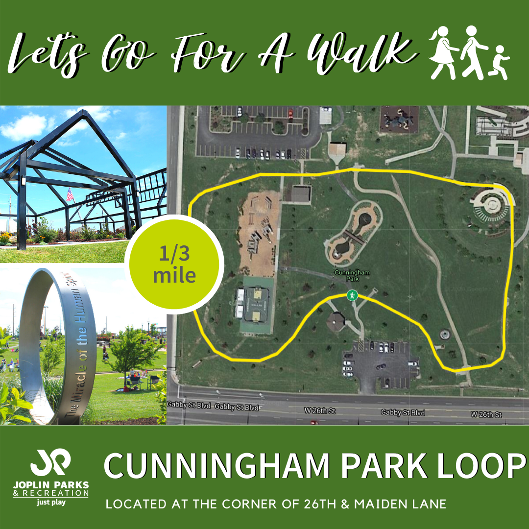 Map of Cunningham Park  with the walking trail highlighted
